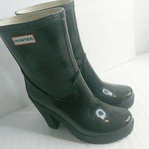 Hunter Arine Women Boots 6M/7F Black Heeled Mid